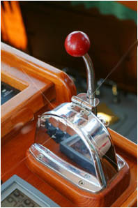 Throttle lever on yacht